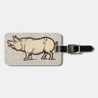 Vintage Pig Antique Piggy Illustration Luggage Tag