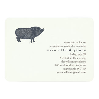 Vintage Pig | Engagement Party BBQ Invitation