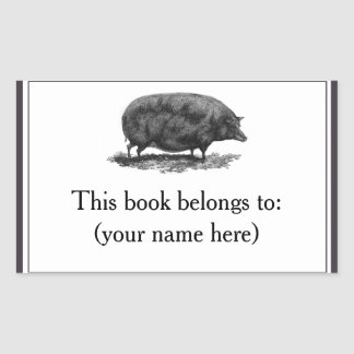 Vintage pig etching bookplate rectangular sticker