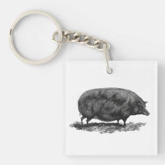 Vintage pig etching keychain
