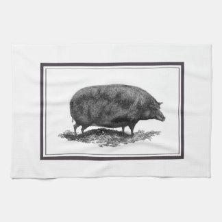 Vintage pig etching mini towel