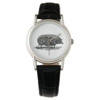 Vintage pig etching watch