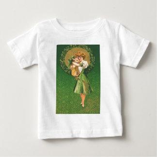 Vintage Pig Maiden Shamrock St Patrick's Day Card Baby T-Shirt