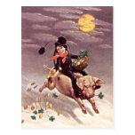 Vintage Pig Moon Gold Shamrock St Patrick's Day Post Cards