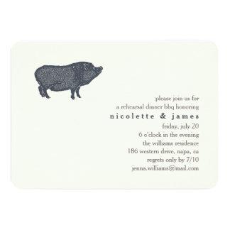 Vintage Pig   Rehearsal Dinner BBQ Invitation