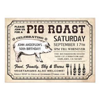 Vintage Pig Roast Invitations (Ticket Style)