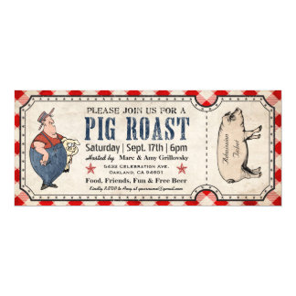 Vintage Pig Roast Ticket Invitations