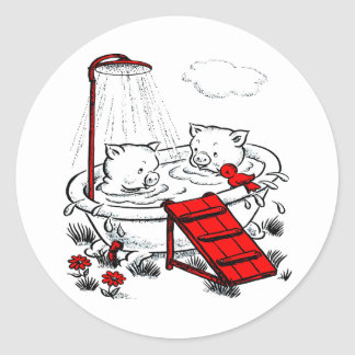 Vintage Piggies & Bird In Bath Classic Round Sticker