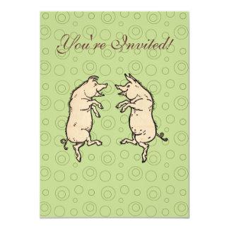 Vintage Pigs Dancing 11 Cm X 16 Cm Invitation Card