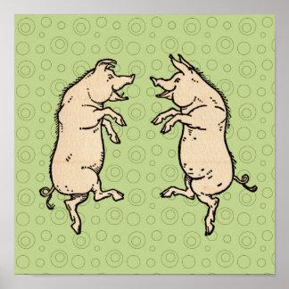 Vintage Pigs Dancing Posters