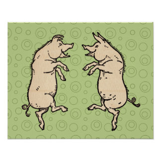Vintage Pigs Dancing Poster