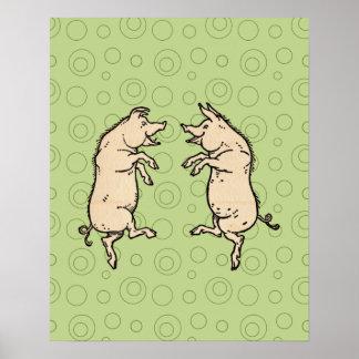 Vintage Pigs Dancing Print