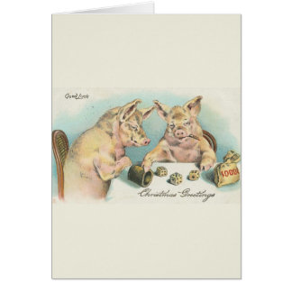Vintage Pigs Playing Dice Card