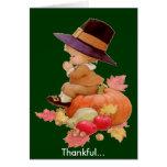 Vintage Pilgrim Boy Praying on Pumpkin Greeting Card