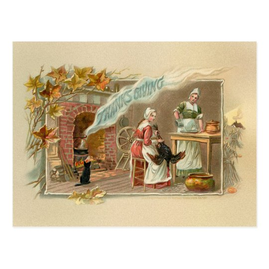 Vintage Pilgrim Thanksgiving Hearth Postcard