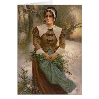 Vintage Pilgrim Woman Greeting Card