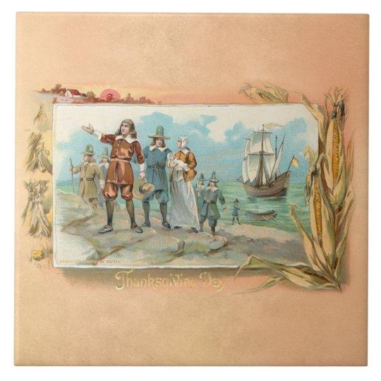 Vintage Pilgrims Landing at Plymouth Rock Large Square Tile