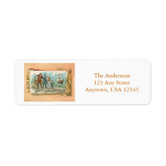 Vintage Pilgrims Landing at Plymouth Rock Return Address Label