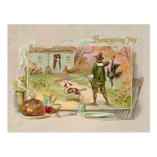 Vintage Pilgrims with Thanksgiving Dinner Postcard