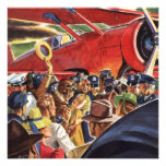 Vintage Pilot, Woman and Aeroplane with Paparazzi Personalised Invite