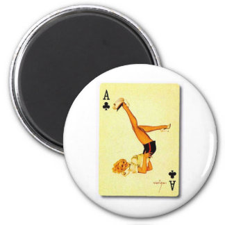 vintage pin up ace 6 cm round magnet
