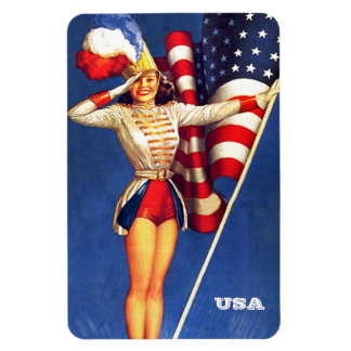 Vintage Pin-Up  Art Patriotic Gift Magnets