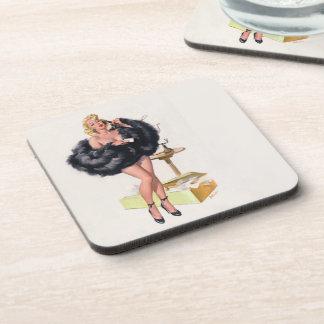 Vintage Pin-Up Coaster, Ballantyne, saucy Drink Coaster