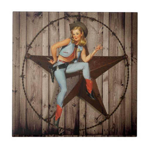 vintage pin up cowgirl country fashion ceramic tile