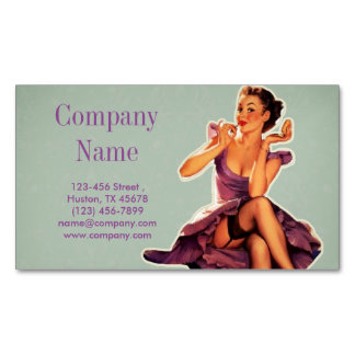 vintage pin up girl beauty salon makeup artist magnetic business cards