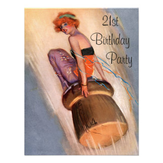 Vintage Pin Up Girl & Champagne Cork 21st Birthday Invitation