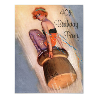 Vintage Pin Up Girl & Champagne Cork 40th Birthday 11 Cm X 14 Cm Invitation Card