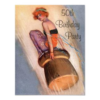 Vintage Pin Up Girl & Champagne Cork 50th Birthday 11 Cm X 14 Cm Invitation Card