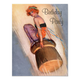 Vintage Pin Up Girl & Champagne Cork Birthday 11 Cm X 14 Cm Invitation Card