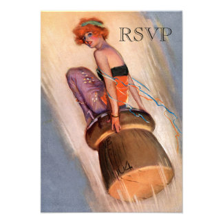 Vintage Pin Up Girl & Champagne Cork RSVP Invites