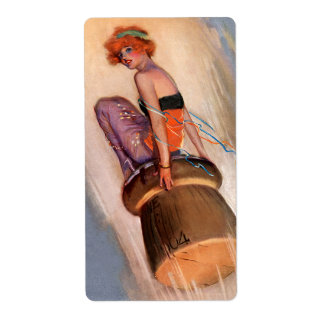 Vintage Pin Up Girl & Champagne Cork Shipping Label