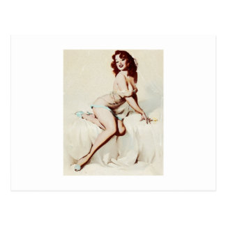 Vintage Pin-Up girl Postcard