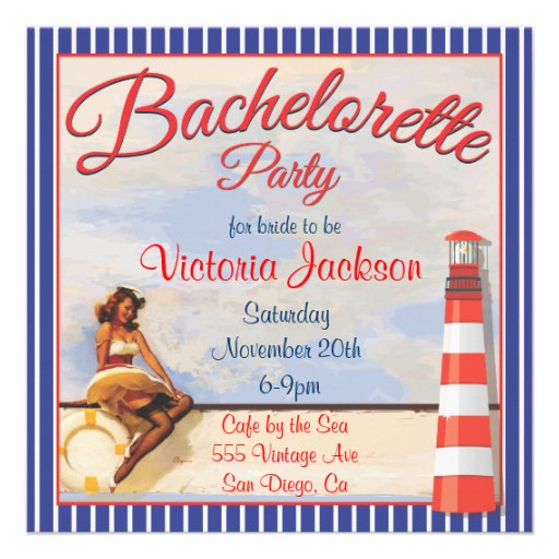 Vintage Pin up Nautical Bachelorette Party Invitations