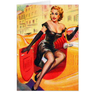 Vintage Pin Up Pinup Girl in Automobile Card