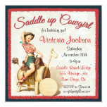 Vintage Pin up Rockabilly Cowgirl Birthday Party Announcement