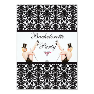 Vintage Pin Up Show Girls Damask Bachelorette Card