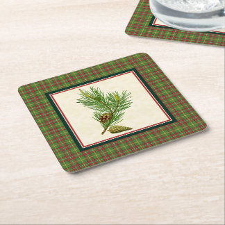 Vintage Pine Christmas Plaid Square Paper Coaster