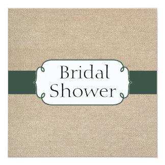 Vintage Pine Green and Beige Burlap Bridal Shower 5.25x5.25 Square Paper Invitation Card