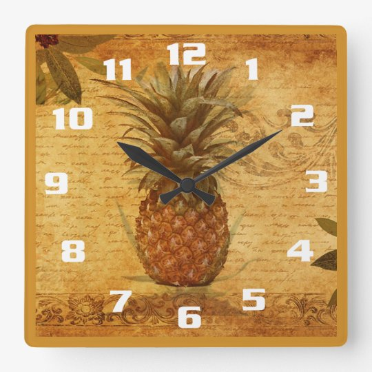 Vintage Pineapple and Calligraphy Gorgeous Kitchen Square Wall