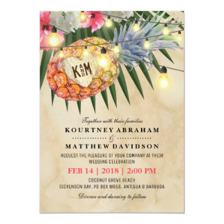 Vintage Pineapple Beach Tropical Wedding 13 Cm X 18 Cm Invitation Card