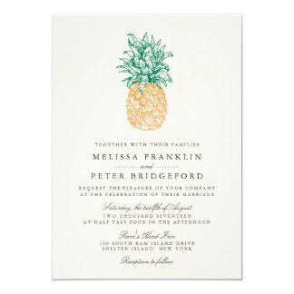 Vintage Pineapple II Wedding Invitation