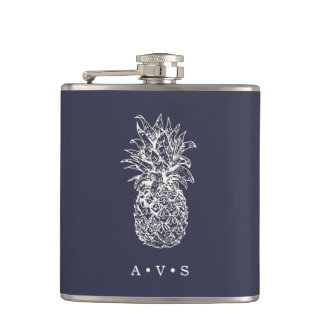 Vintage Pineapple Monogram Hip Flask