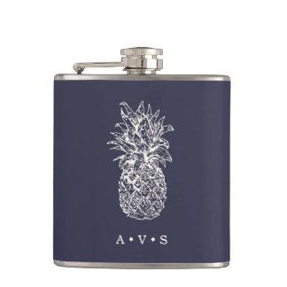 Vintage Pineapple Monogram Hip Flask