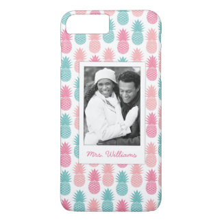 Vintage Pineapple Pattern | Add Your Photo & Name iPhone 8 Plus/7 Plus Case