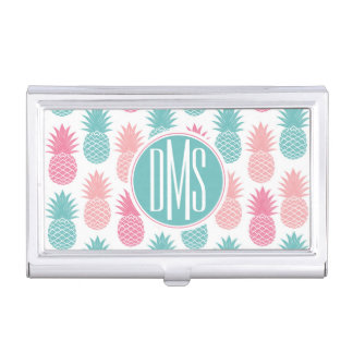 Vintage Pineapple Pattern | Monogram Business Card Holder