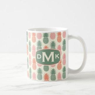 Vintage Pineapple Pattern | Monogram Coffee Mug